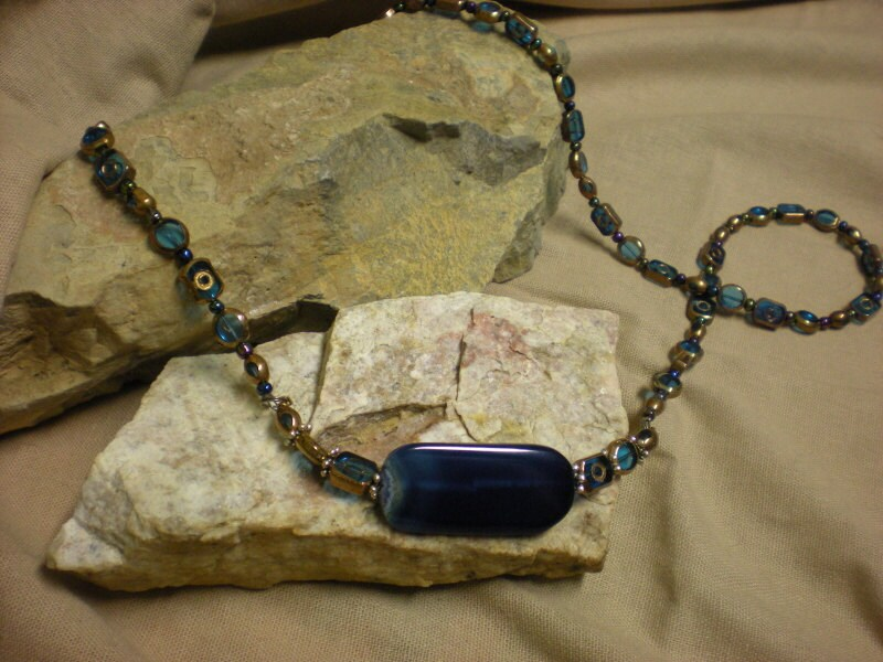 blue dragonstone and artisan glass bead necklace