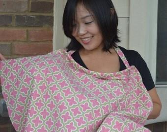 Custom Nursing Cover up for breastfeeding - Pink Flower pattern