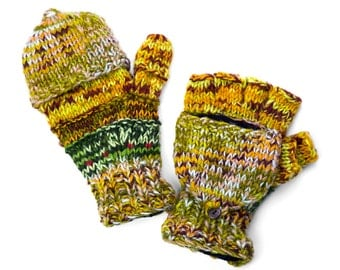 Wool Fingerless Gloves,Texting Gloves, Handknit Fingerless Gloves, Convertible Mittens - Multi-Earthy Colors - 1653G