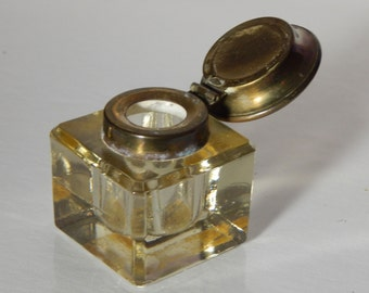Original Art Deco Brass Capped Inkwell