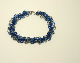 Blue and Silver Bracelet - Shaggy Loops Chainmaille