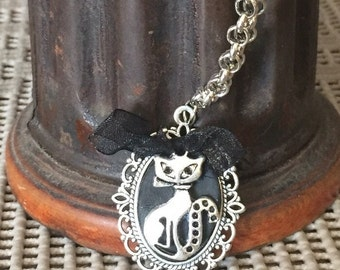 Necklace with Cameo-cat with cat and black bow-handmade-fimo