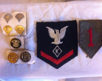 WW II orignial patches and brass pins.