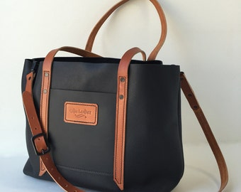 Black & Tan Leather Tote