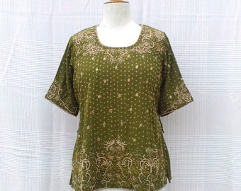 Indian embroidered tunic, tunic with short sleeves, Indian tunic women, Indian Crafts