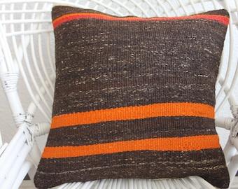 On SALE 18x18 flat woven Turkish kilim pillow 18x18 home decor kelim kissen 18x18 - 45x45cm vintage kilim pillow decorative kilim pillow 178