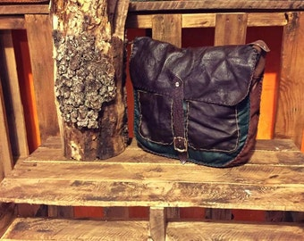 Leather Messenger Bag, Brown and Green