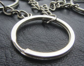 5pcs // 28mm Split Ring, Key Ring with Chain, Ring with Chain split ring , Key Keychain Key Holder Key ring, FLAT RATE SHIPPING