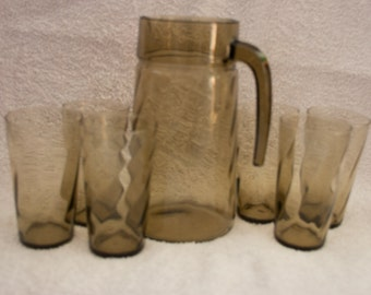 Luminarc Smoked Glass jug and 6 glasses