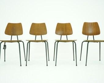 306-074 Danish Mid Century Modern Teak Stacking School Chairs