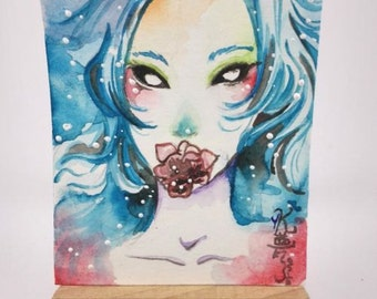 ACEO trading card fantasy watercolor demon manga anime