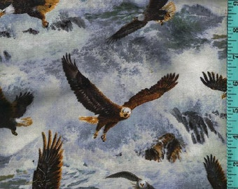 The Hunter Eagle Flight  Fabric, Home Decor Quilt or Craft