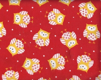 Owl Polka Dot Red; Cotton Fabric Flannel, Fabric