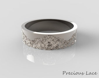 Platinum Wedding Band with Lace Texture, Platinum Wedding Ring, Platinum Lace Ring, Platinum Ring for women, Lace Ring