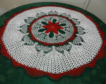 Poinsettia Crocheted Tabletop Doily