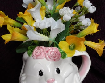 Whimsical Bunny Mug/Cup Yellow and White Floral Arrangement, Tea Cup Arrangement, Spring Arrangement, Silk Flower Arrangement