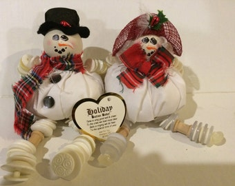Holiday Snowman Button Baby Dolls