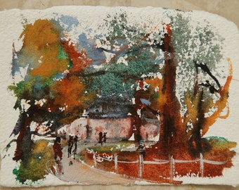 Original watercolour by nature, paint original, original fine walkers, trees in autumn, extra Watercolour Painting, gift