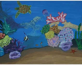 """FREE, POSTER, 11""""x17"""", Seascape, ocean, turtle, jellyfish, starfish, clownfish, coral, coral reef, bright, colorful,"""