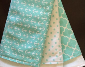 Anchor Burp Cloth Teal