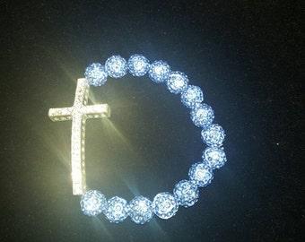 Shamballa pave rhinestone cross bracelet light blue/periwinkle, light purple - adult
