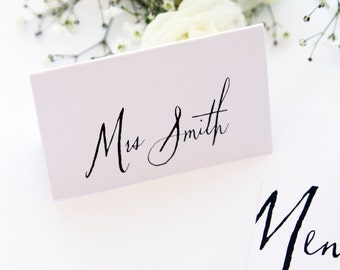 Modern Place Cards, Name Cards, Digital Files or Printed Cards, Premium Cardboard, Sky Blue, Mint