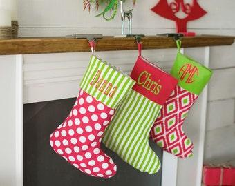 Monogrammed Christmas Stockings/Embroidered Stockings/ Christmas Decor