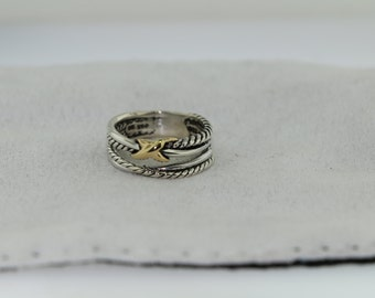 pre-owned David Yurman- X Crossover Ring With Gold Size 6