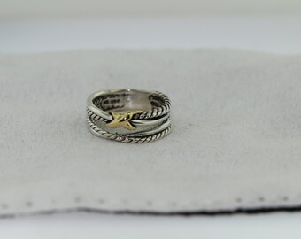 David Yurman- X Crossover Ring With Gold Size 6