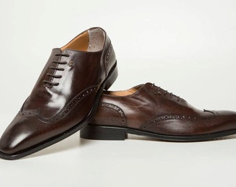 LA Fatima Men Zapatos/Office Dark Brown Leather Shoes/Dress Oxfords Shoes/Made in Italy/Handmade Leather Shoes/Chaussures Hommes/Size 9