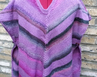 Hand made shawl multicolour knitted poncho warm cowl acessories