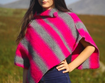 Pink and grey poncho