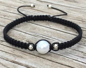 Pearl Bracelet , Adjustable Cord Macrame Friendship Bracelet
