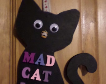 Mad Cat Lady wooden hanging ornament