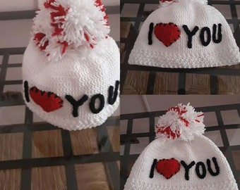 Hat for girl hat with pom pom worked in crochet caps custom hats at coton 100%