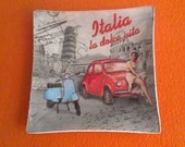 Decorative plate - Glass plate - Decoupage plate - Unique plate - ITALIA - Moped - Car - gift for women - beautiful - unique gifts