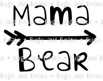 Mama Bear with arrow SVG and DXF files