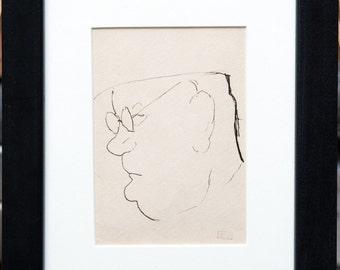 "Joseph Stella ""Self Portrait"" Pen and Ink on Paper Estate Stamped"