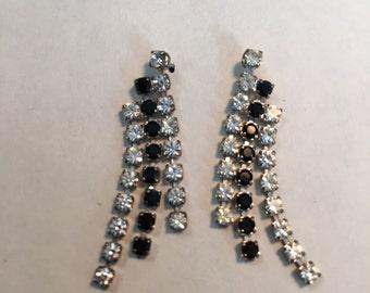 Black and Clear Rhinestone Earrings