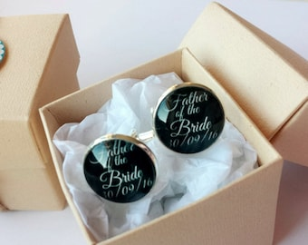 Personalised Glass Cufflinks - Made to order - Gift Ideas - 18mm wide.