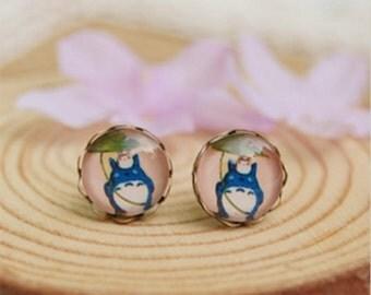 Blue Totoro Ghibli Anime. Handmade Vintage Boho Glass Cabochon Stud Earrings. Jewellery Gift for Women, Girlfriend, Wife, Fiancee, Girl.