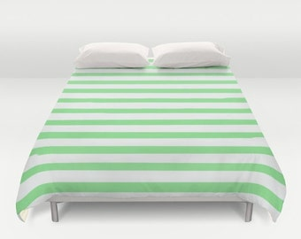 Grüne Streifen Bettbezug, Einzelbetten, Jungen Schlafzimmer Dekor, Kinder  Bettwäsche, Kinder Dekor