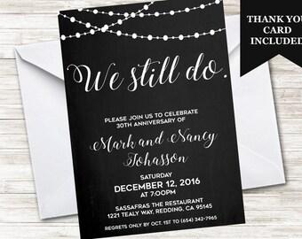 We Still Do Invite Anniversary Invitation Wedding Digital Personalized Chalkboard String Lights Black White