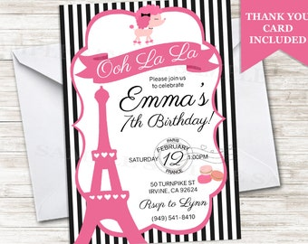 Paris Birthday Invitation Poodle Invite French Digital Personalized 5X7  Eiffel Tower Parisienne