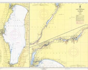 1964 Nautical Map of Lake Winnebago Wisconsin