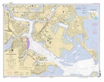 2012 Nautical Map of Boston Mass Inner Harbor