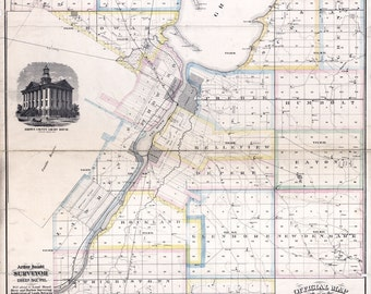 1870 Map of Brown County Wisconsin Green Bay