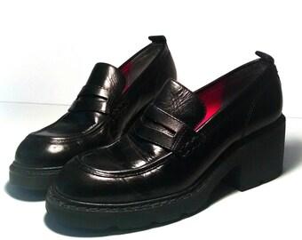 1990s Tommy Hilfiger chunky platform loafer /chunky platform loafers/90s Tommy Hilfiger loafer /1990s grunge loafer / grunge chunky loafers