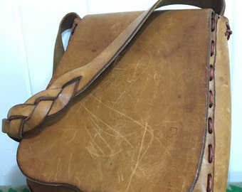 70's vintage leather pouche shoulder bag handmade