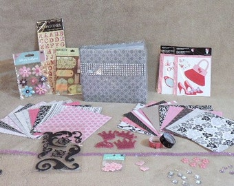 Price reduced - Scrapbook kit - makes one complete 6 X 6  Silver rhinestone embellished album - Over 100 pieces